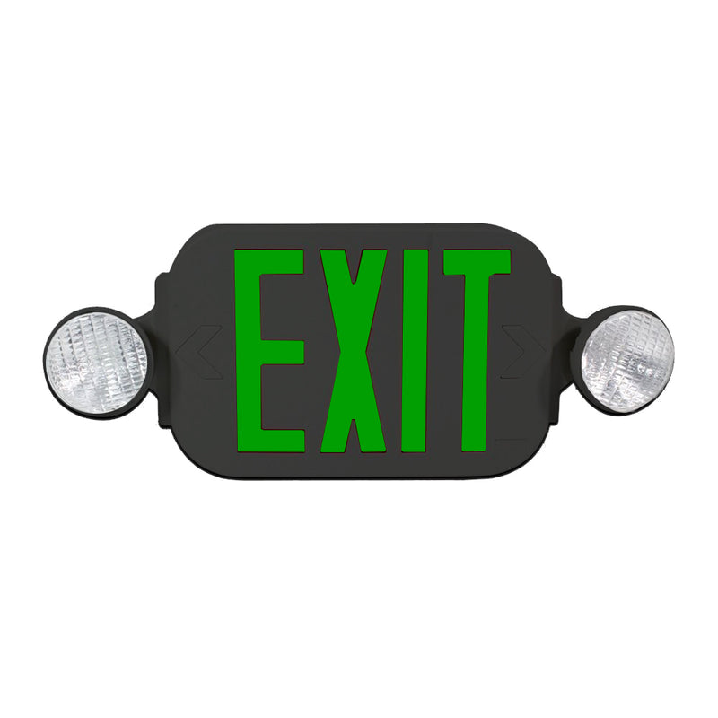 LED Exit Sign Emergency Light Combo with Battery Back Up UL924 ETL listed, Green Lettering in Black Body, Bug Eye Side Light