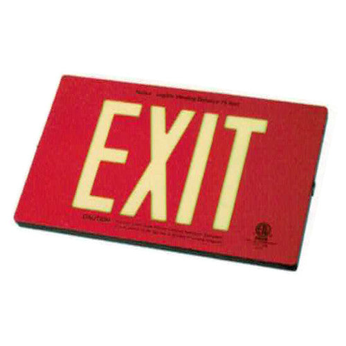 Photo Luminescent Exit Sign Deluxe Die Casting RED