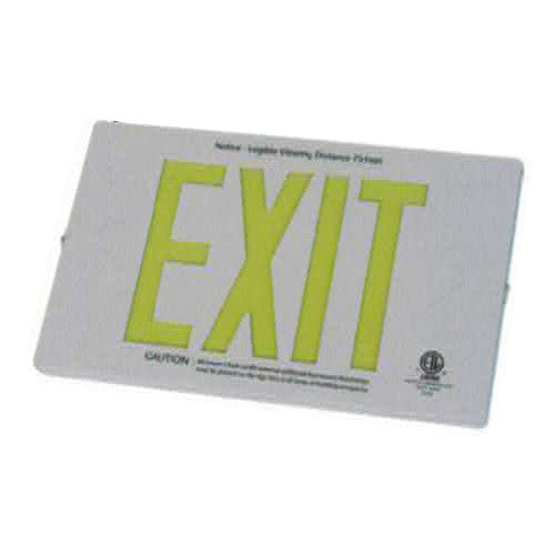 Photo Luminescent Exit Sign Deluxe Die Casting WHITE