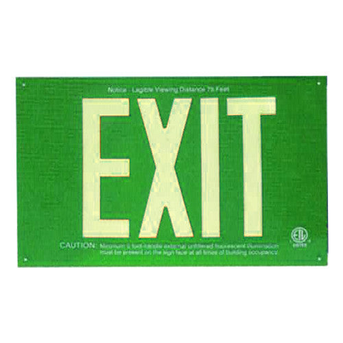 Photo Luminescent Exit Sign Standard Green