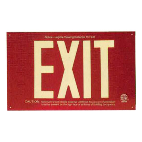 Photo Luminescent Exit Sign Standard RED