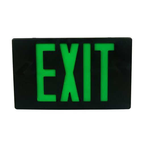 Black Body LED Green Letter Exit Sign