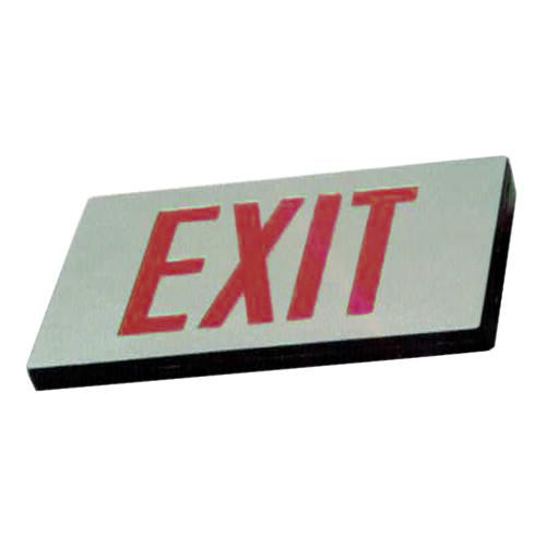 Low Level Silver finish Exit Sign, MS series - Red Lettering