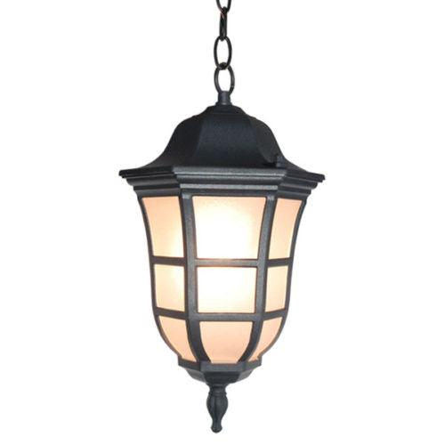 Matte Black Finish Frosted Glass Outdoor Hanging Light Weather Resistant