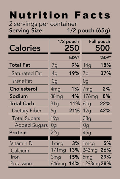 mele, all natural meal replacement cocoa-nut nutrition facts