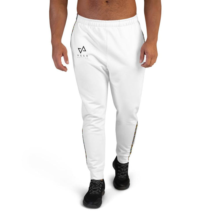 Imara Men's tri pattern Joggers in White - Veer Active