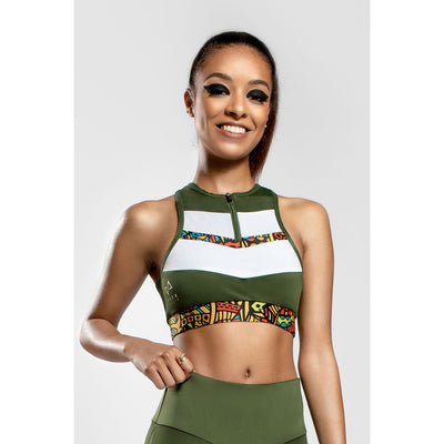Kin printed sports bra in Green - Veer Active