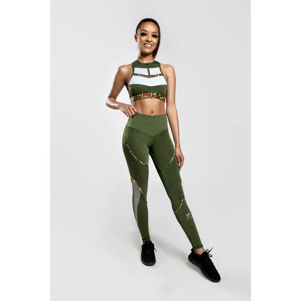 Nzinga printed legging in Green - Veer Active