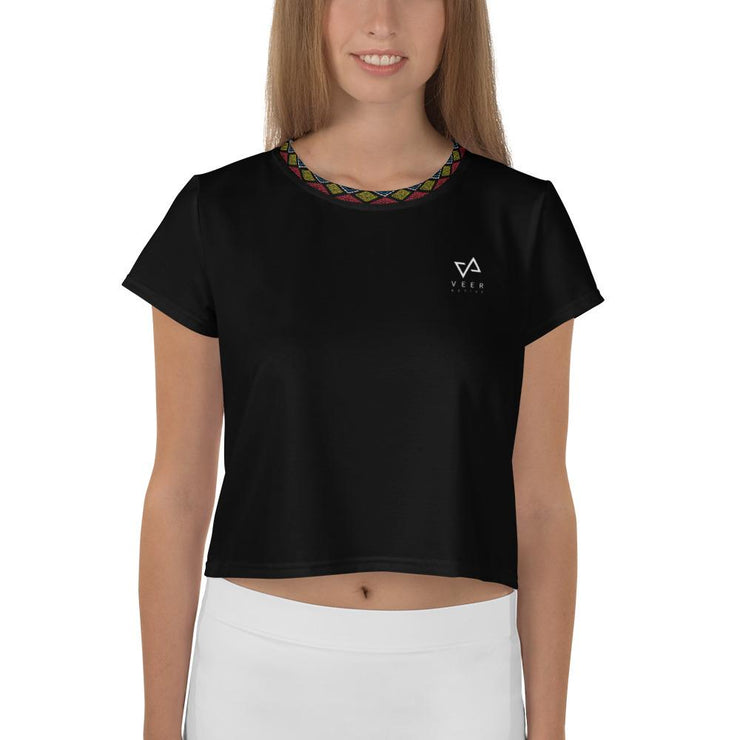 TEKE Athletic Print Crop Tee in Black - Veer Active