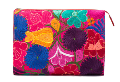 Selena Large Embroidered Clutch - Freesia - LUCINE