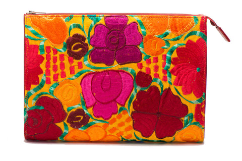 Selena Large Embroidered Clutch - Marigold - LUCINE