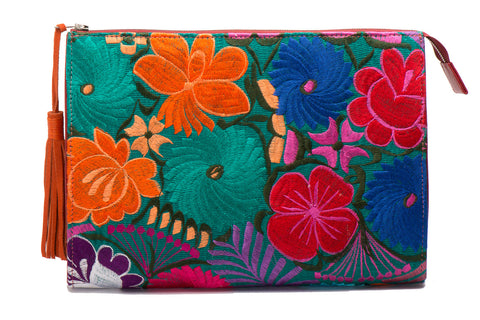 Selena Large Embroidered Clutch - Zinnia - LUCINE