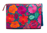 Selena Large Embroidered Clutch - Jasmine - LUCINE