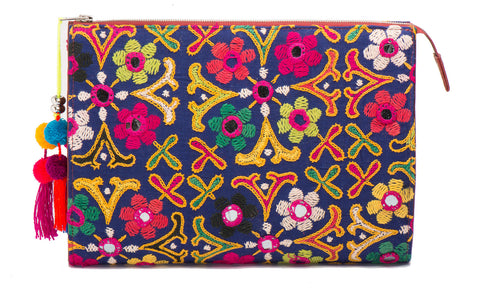 Selena Large Embroidered Clutch - Mandira - LUCINE