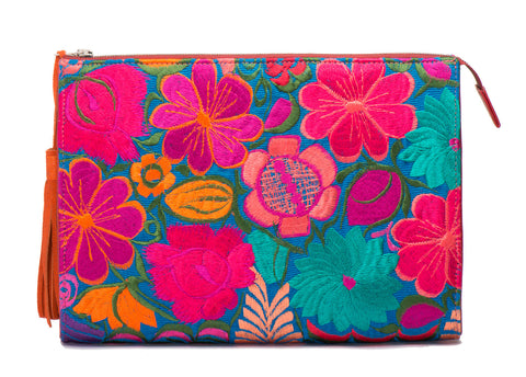 Selena Large Embroidered Clutch - Poppy - LUCINE