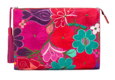 Selena Large Embroidered Clutch - Iris - LUCINE