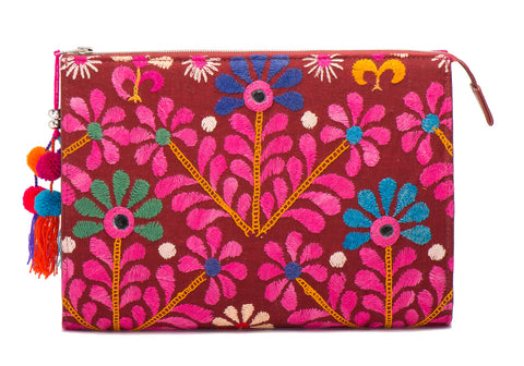 Selena Large Embroidered Clutch - Preeti - LUCINE