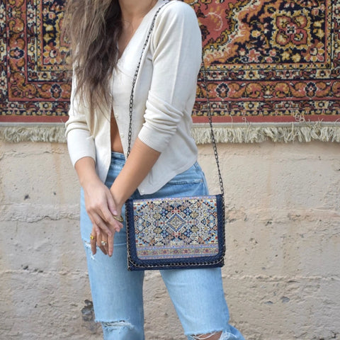 Middle Eastern Handbag - Navy Blue - LUCINE