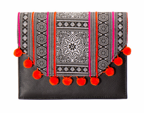 Lola Cross Body Handbag - Orange Batik - LUCINE