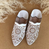 Leather Moroccan Babouches - Farah White - LUCINE
