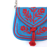 Embroidered Moroccan Cross Body Handbag - Blue - LUCINE