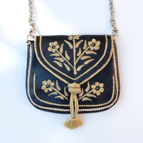 Embroidered Moroccan Cross Body Handbag - Black - LUCINE