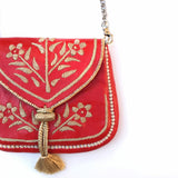 Embroidered Moroccan Cross Body Handbag - Red - LUCINE