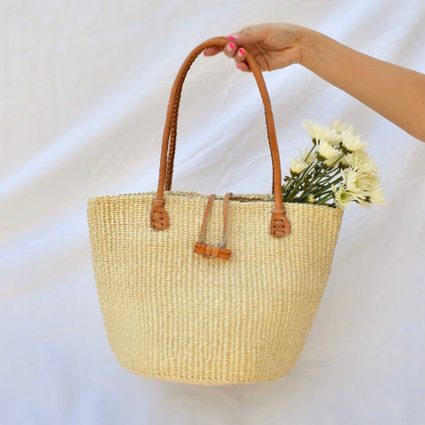 Kenya Bag with Leather Handles - Cream