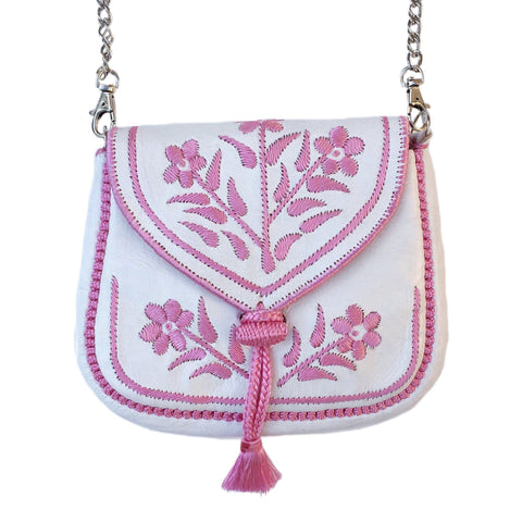Embroidered Moroccan Cross Body Handbag - White - LUCINE