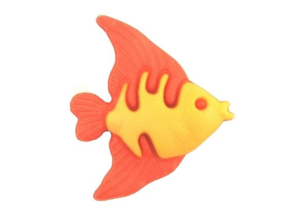 Angelfish 3/4 inch Novelty Button Orange Color
