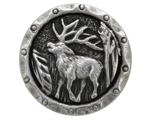 Antlers Elk 5/8 inch Metal Button Antique Silver Color