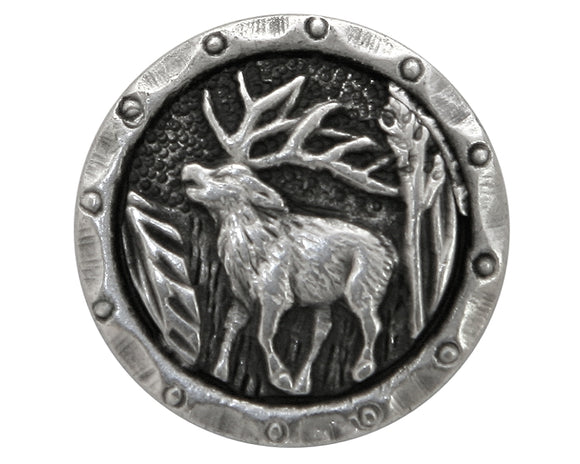 Antlers Elk  3/4 inch Metal Button Antique Silver Color