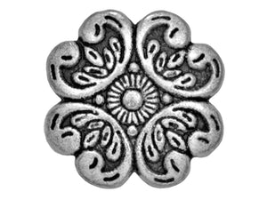 Baroque Petals Metal Button Antique Silver Color