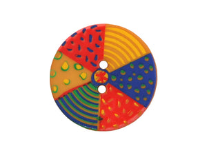 Dill Beach Ball Large Novelty Button Multi Color