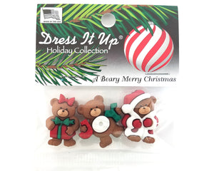 Beary Merry Christmas Novelty Buttons Dress It Up Theme Pack