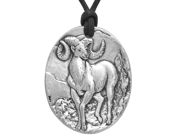 Bighorn Sheep Pewter Pendant Necklace on Black Cotton Cord