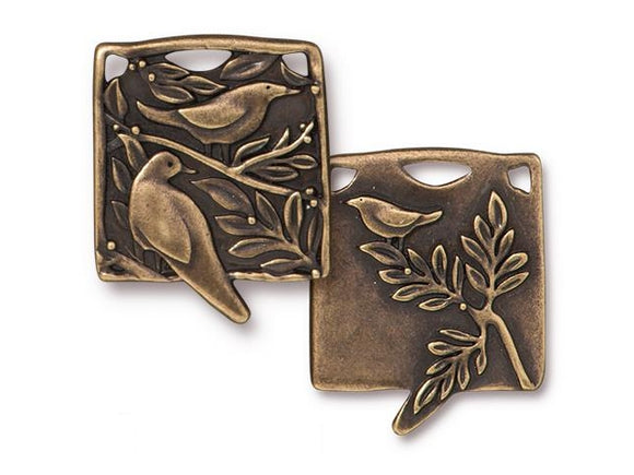 TierraCast Botanical Birds Large Pewter Pendant Brass Plated