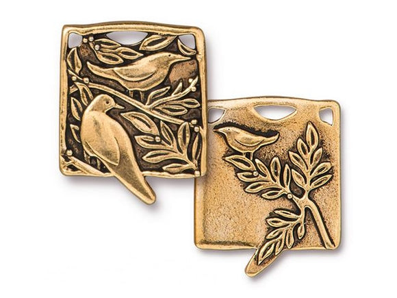 TierraCast Botanical Birds Large Pewter Pendant Gold Plated