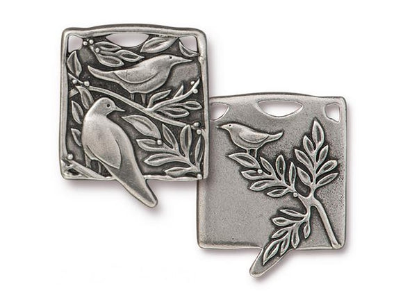 TierraCast Botanical Birds Large Pewter Pendant Antique Silver Color