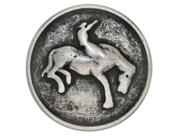 Bronco Cowboy  11/16 inch Metal Button Antique Silver Color