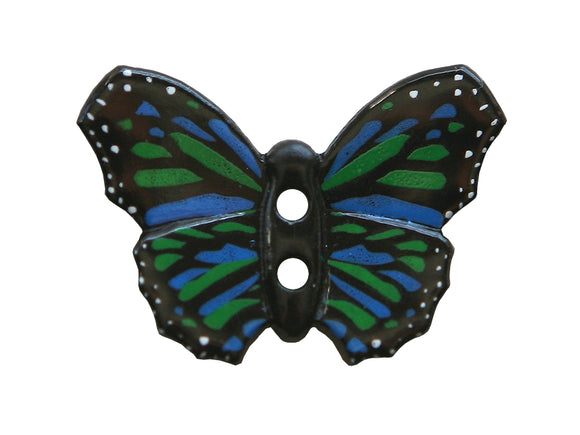Dill Butterfly 1 and 1/8 inch Novelty Button Color Blue Green