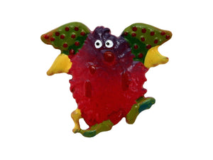 Cheri Strole Fluffy Flier Monster Large Metal Button Red Color