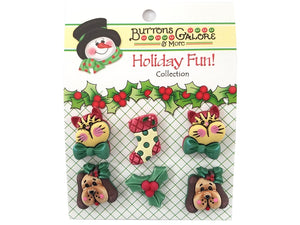Buttons Galore Christmas Holiday Pets Novelty Buttons Holiday Fun Collection