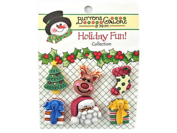 Buttons Galore Here Comes Santa Novelty Buttons Holiday Fun Collection