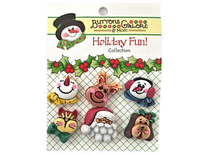 Buttons Galore Santa and Friends Novelty Buttons Holiday Fun Collection