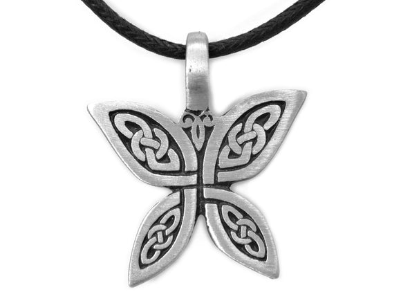 Olavi Celtic Butterfly Pewter Pendant on Black Cotton Cord