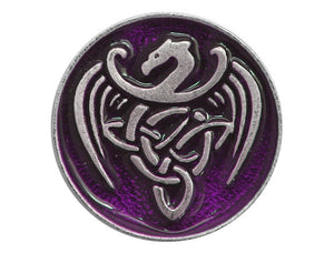 TreasureCast Celtic Dragon 13/16 inch Pewter Button Silver / Purple Color