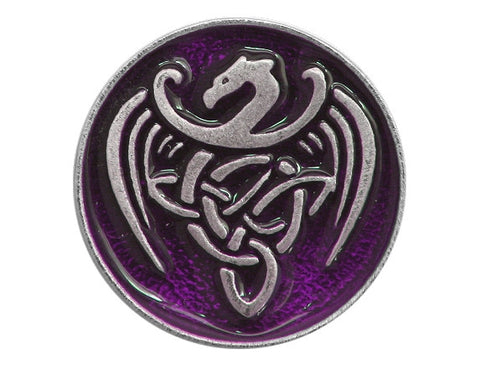 TreasureCast Celtic Dragon 15/16 inch Pewter Button Silver / Purple Color