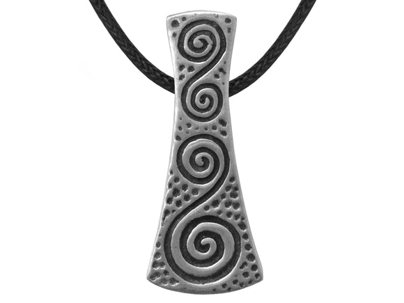 Olavi Celtic Grace Double Spiral Pewter Pendant on Black Cotton Cord