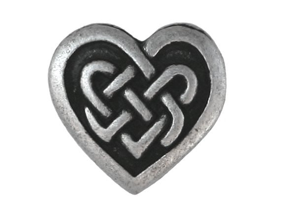 Celtic Heart 3/4 inch Metal Button Antique Silver Color